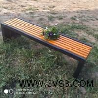 公园长凳 实木休闲平凳 铸铝长条凳 现货供应_图片